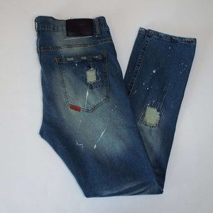 Reason Brand Distressed Mulberry Moto Jeans